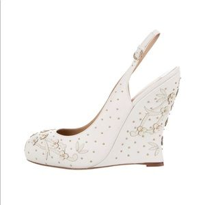 BRAND NEW Valentino Floral Appliqué Leather Wedge